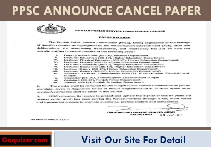 PPSC Announce Cancel Paper List