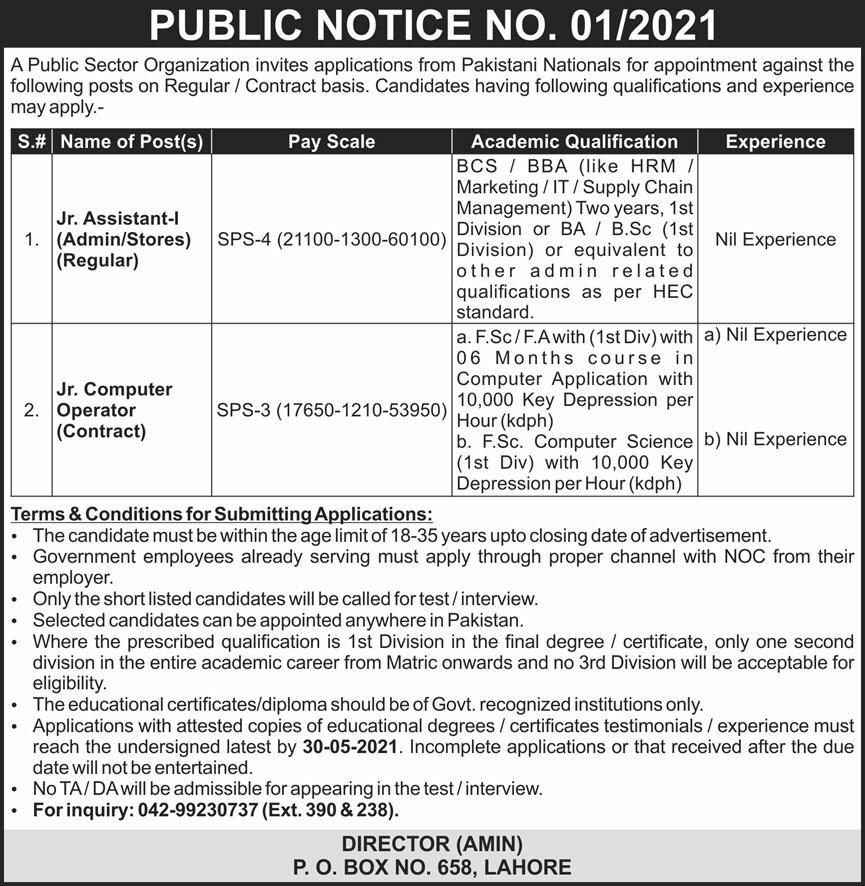 Public Sector Jobs In Lahore